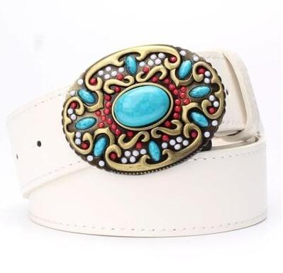 Fashion women' leather belt Inlaid turquoise Metal buckle colored gemstones decorative belts gift - SolaceConnect.com