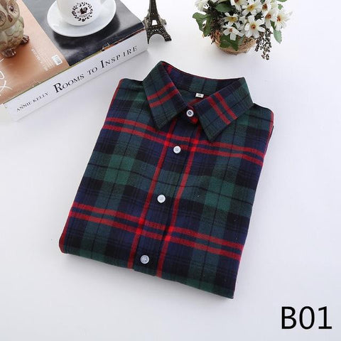 Fashion Plaid Shirt Female College style women's Blouses Long Sleeve Flannel Shirt Plus Size