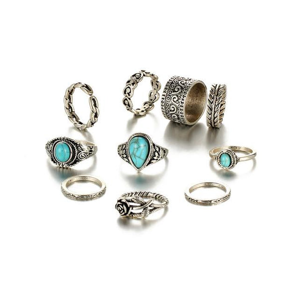 10Pcs Women's Retro Rose Flower Midi Ring Set in Vintage Blue Stone - SolaceConnect.com