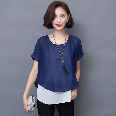 Short Sleeved Elegant Fake Two Piece Chiffon Summer Women's Blouse - SolaceConnect.com
