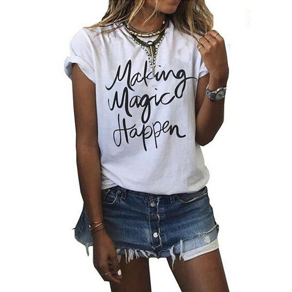 Women's O-Neck Short Sleeve Letter Printed Fashion T-Shirt Tops - SolaceConnect.com