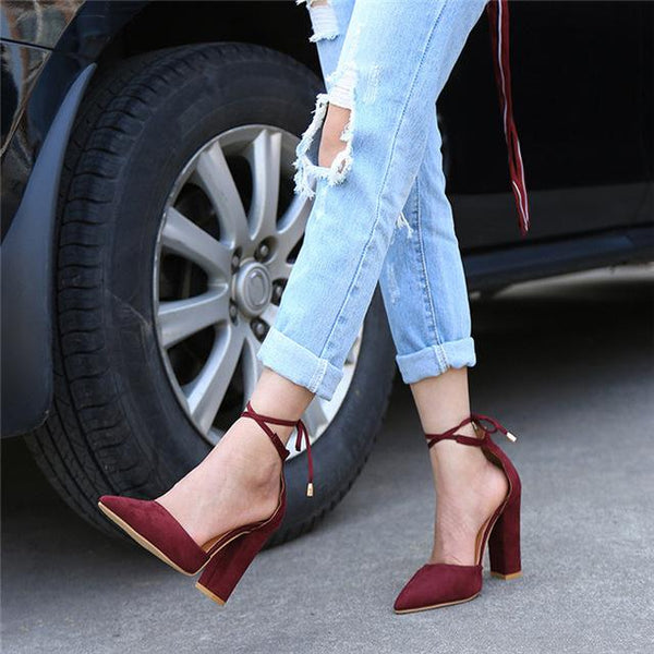 6 Colors Pointed Strappy Lace Up Pumps with Sexy Retro High Thick Heels - SolaceConnect.com