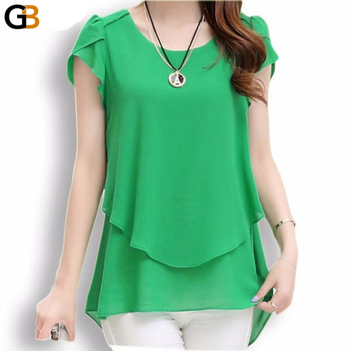 Summer Women's Loose O-Neck Chiffon Blouse Shirt with Short Sleeves - SolaceConnect.com
