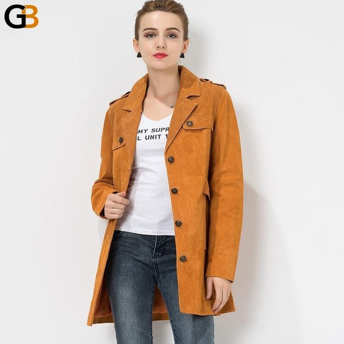 S-4XL Real Leather Pigskin Trench Slim Denim Jacket for Women - SolaceConnect.com