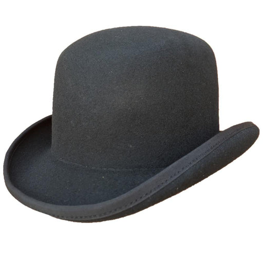 Black Wool Felt Fedora Solid Pattern Derby Bowler Hat for Men Women - SolaceConnect.com