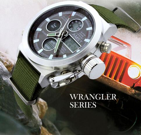 Nylon & Leather Strap LED Dive 50m Military Watches with Dual Display - SolaceConnect.com