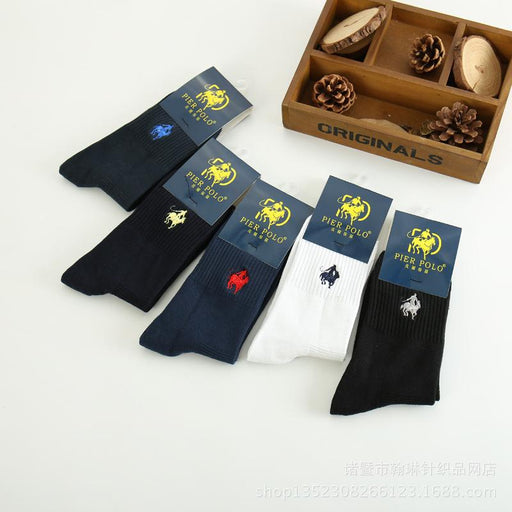 5 Pairs Men's Casual Solid Color 100% Cotton Harajuku Happy Socks - SolaceConnect.com