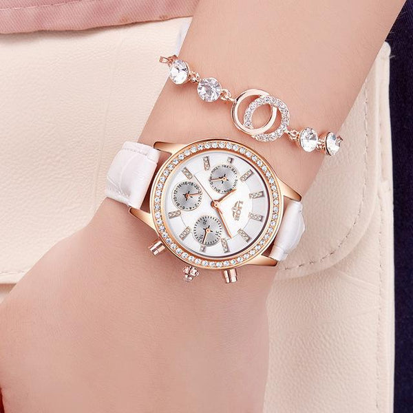 Ladies Casual Leather Quartz Watch with Stainless Steel Round Case - SolaceConnect.com