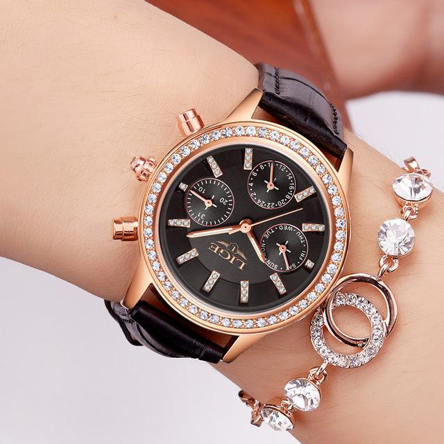 Relogio feminino Women Watches LIGE Luxury Brand Girl Quartz Watch Casual Leather Ladies Dress - SolaceConnect.com