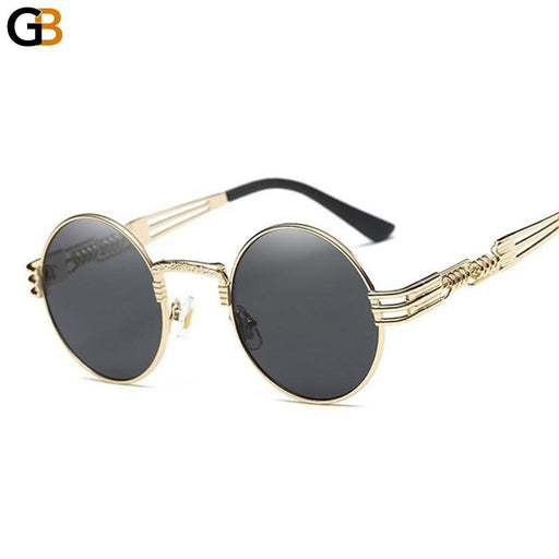 Gothic Steampunk Style Metal Round Clear Shades Unisex Sunglasses - SolaceConnect.com