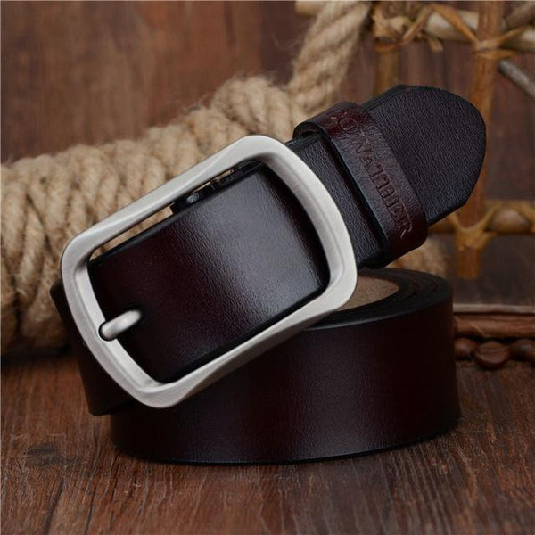 Vintage Fashion Genuine Cow Leather Pin Buckle Belts for Men - SolaceConnect.com