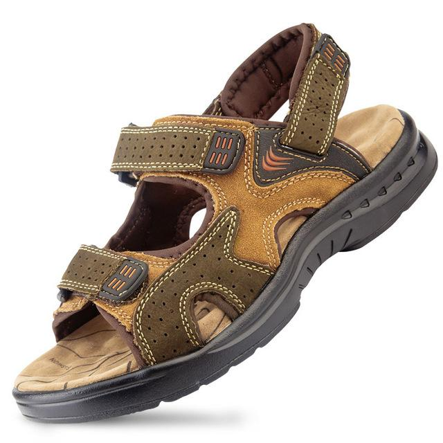 Men's Genuine Leather Cowhide Summer Sandals Shoes for Casual Outdoors - SolaceConnect.com