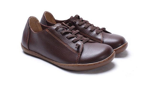 35-42 Women's Flat 100% Authentic Leather Plain Toe Lace Up Shoes - SolaceConnect.com