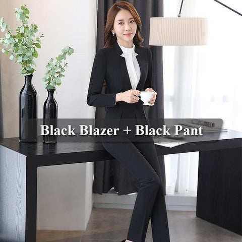 2 piece Gray Pant Suits Formal Ladies Office OL Uniform Designs Women elegant Business Work Wear - SolaceConnect.com