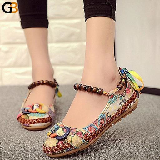 Comfortable Colorful Ethnic Lace Up Beaded Round Toe Flats Loafers - SolaceConnect.com