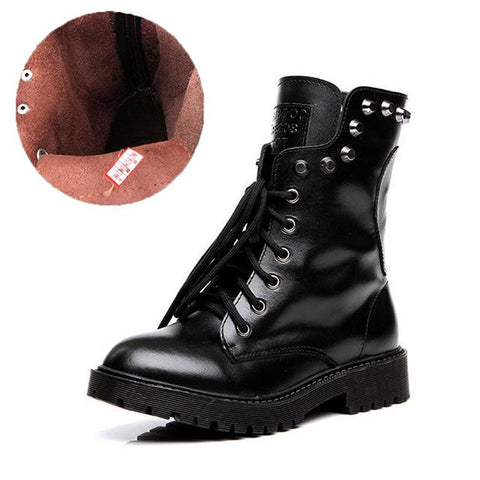 Genuine Leather Women Boots Fall Winter Warm Brand Rivets Fashion Platform Red Black