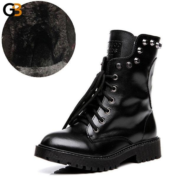 Genuine Leather Women's Winter Warm Platform Red Black Motorcycle Boots - SolaceConnect.com