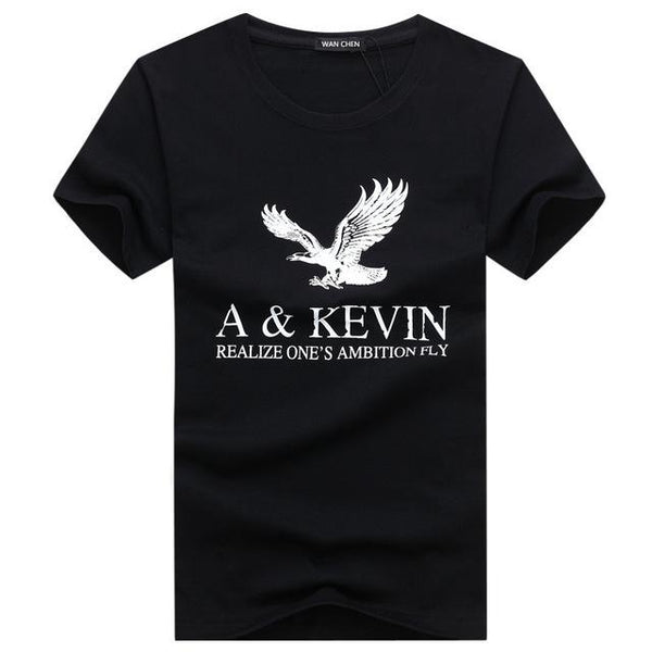Men's Large Size Pure Cotton Eagle Printed Slim Fit Fashion T-Shirt - SolaceConnect.com
