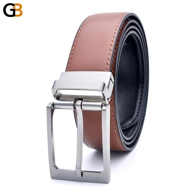 Men's Hot Fashion Handmade Formal Cowhide Leather Reversible Buckle Belts - SolaceConnect.com