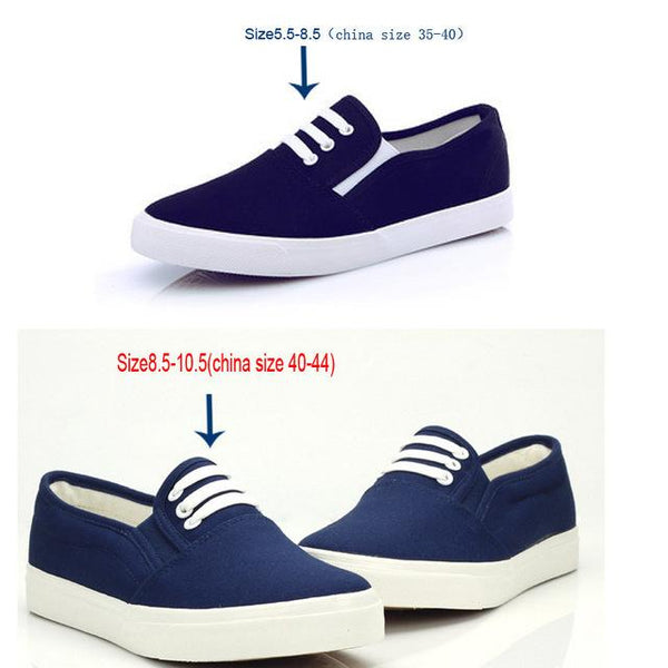 Women's Large Size 36-41 Synthetic Leather Slip-On Flat Casual Canvas Shoes - SolaceConnect.com