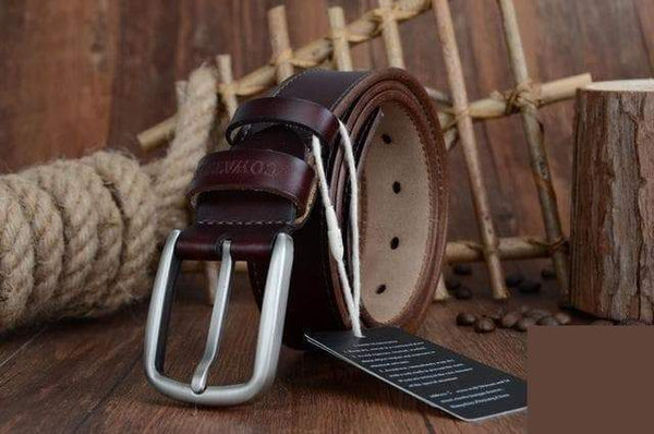 Fashion Design Solid Pattern Genuine Cow Leather Men's Belts - SolaceConnect.com