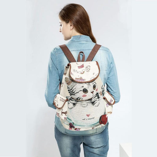Cute Canvas Cat Printed Backpack with Drawstring for Women & Teenage Girls - SolaceConnect.com