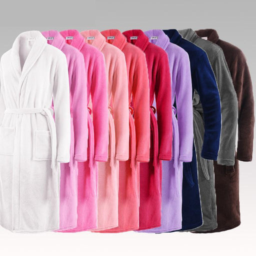 Women and Men Warm Silk Flannel Long Kimono Bathrobe for Winter - SolaceConnect.com