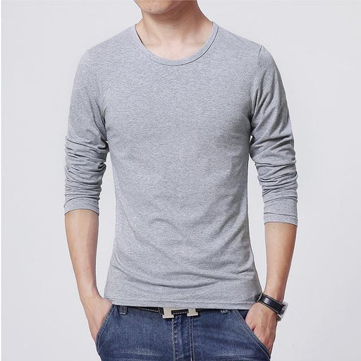 3 Basic Pure Colors Long Sleeve Slim Fit T-Shirt Tee for Young Men 3XL - SolaceConnect.com