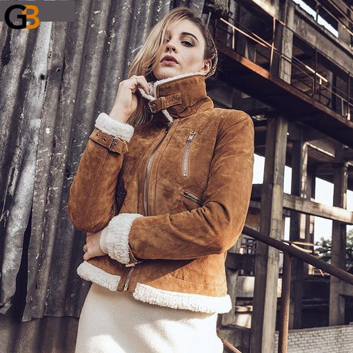 Women's Retro Real leather jacket Faux fur Shearling Autumn Winter warm Female Genuine Leather - SolaceConnect.com