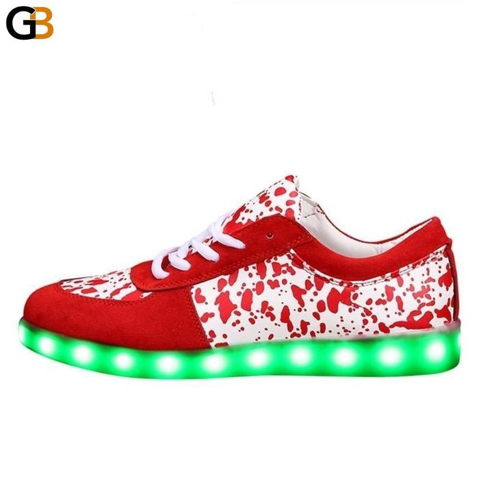 Unisex LED Luminous Synthetic Leather Cotton Lining Lace-Up Breathable Shoe - SolaceConnect.com