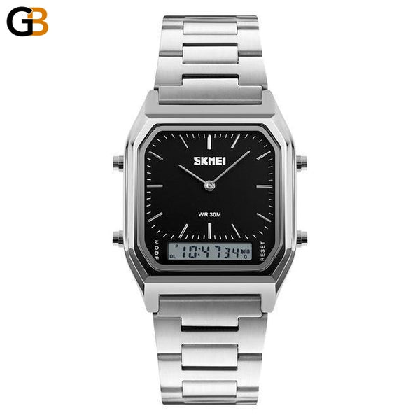Men's Casual Fashion Quartz Wristwatches with Digital Dual Time - SolaceConnect.com
