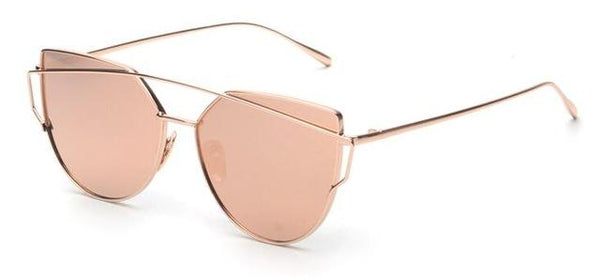 Women's Twin Beam Cat Eye Rose Gold Designer Sunglasses with Mirror Lens - SolaceConnect.com