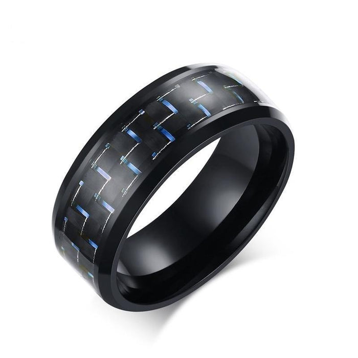 Men's Stainless Steel Simple Blue Black Carbon Fibre Inlay Wedding Ring - SolaceConnect.com