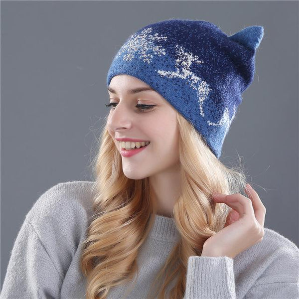 Cute Kitty Winter Rabbit Fur Wool Knitted Beanies Hats for Women - SolaceConnect.com