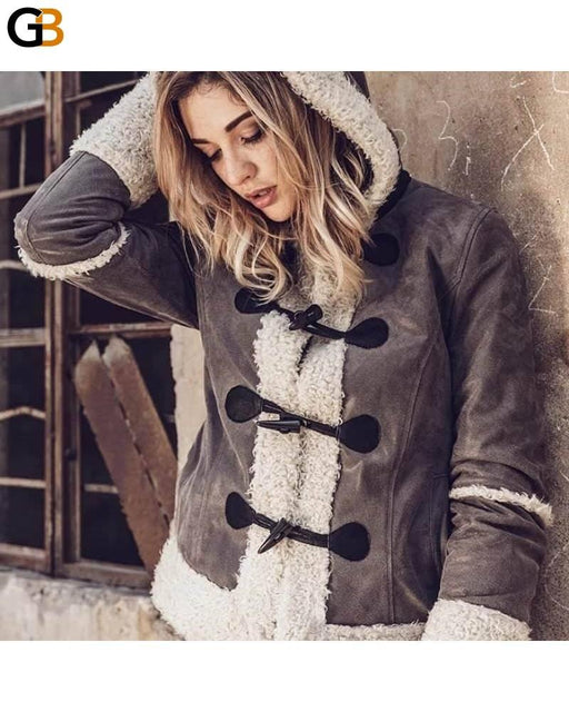 Women's Faux Fur Genuine Leather Shearling Motorcycle Hooded Jacket - SolaceConnect.com