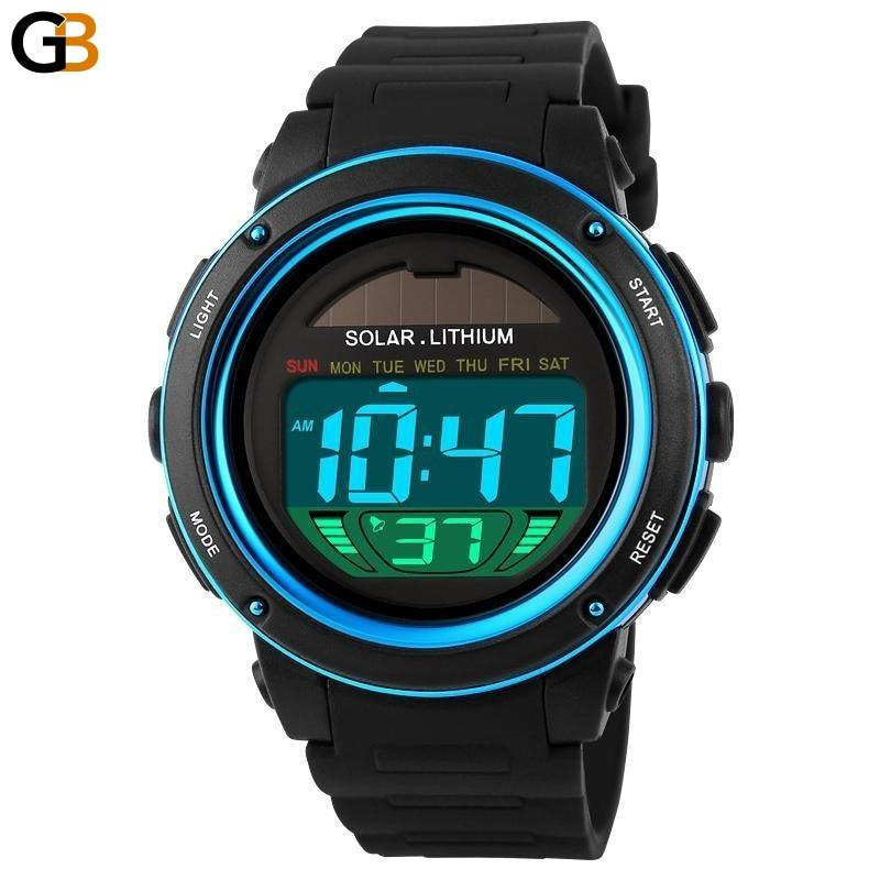 Men's Solar Power Sports Water Resistant Digital Chrono 50M Wristwatches - SolaceConnect.com