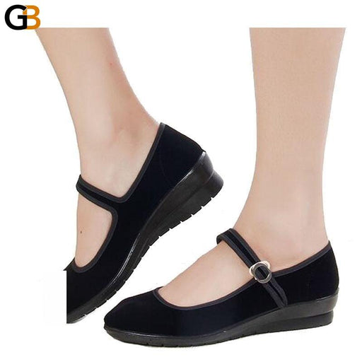 Buckle Strap Comfortable Women's Solid Pattern Flats Shoes with Round Toe - SolaceConnect.com