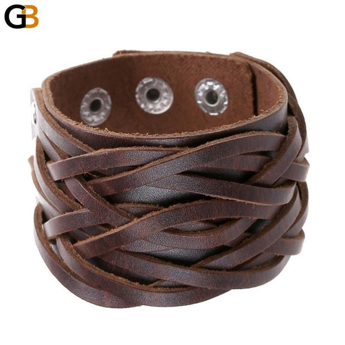 3 Colors Genuine Leather Punk Wide Cuff Bracelets & Bangles for Women Men - SolaceConnect.com