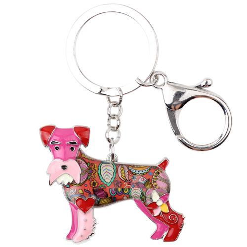 Enamel Schnauzer Dog Terrier Key Chain Jewelry for Women's Bag - SolaceConnect.com