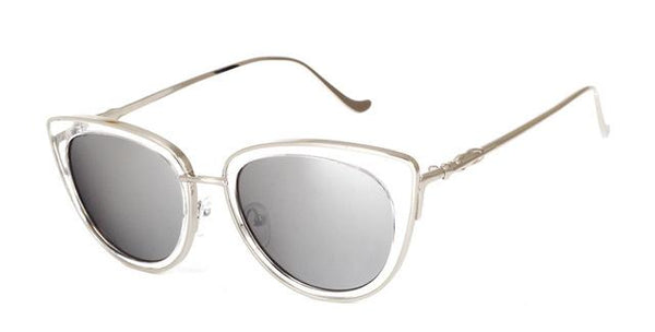 Women's Sexy Cat Eye Alloy Metal Frame Retro Sunglasses with Mirror Lens - SolaceConnect.com