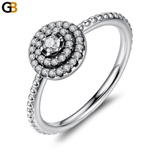 925 Sterling Silver Radiant Clear CZ Flower Women's Ring in Round Shape - SolaceConnect.com