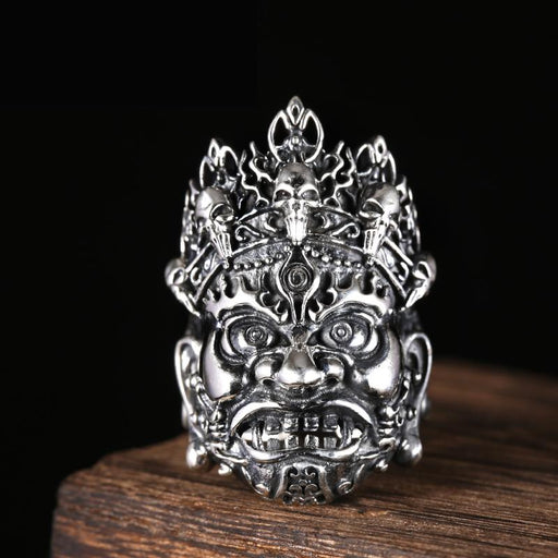 Vintage Authentic Solid 925 Silver 36mm Opening Buddhist Big Ring for Men - SolaceConnect.com