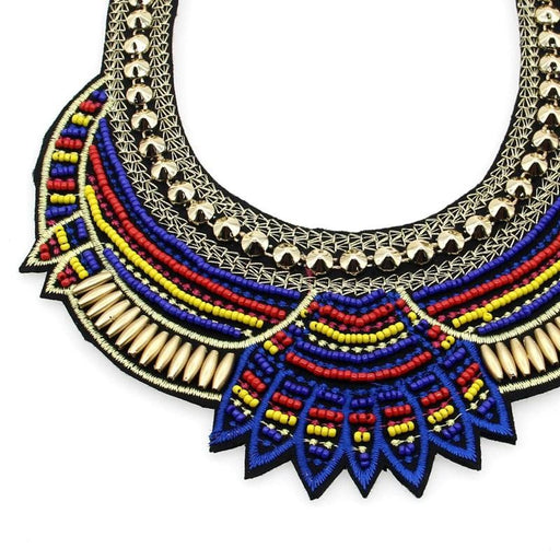 Women's Ethnic Multicolor Handmade Bib Collar Choker Necklace with Beads - SolaceConnect.com
