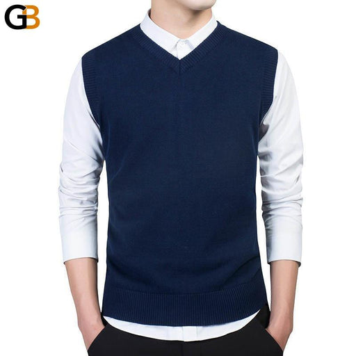 Varsanol Brand Clothing Pullover Sweater Men Autumn V Neck Slim Vest Sweaters Sleeveless Men's - SolaceConnect.com