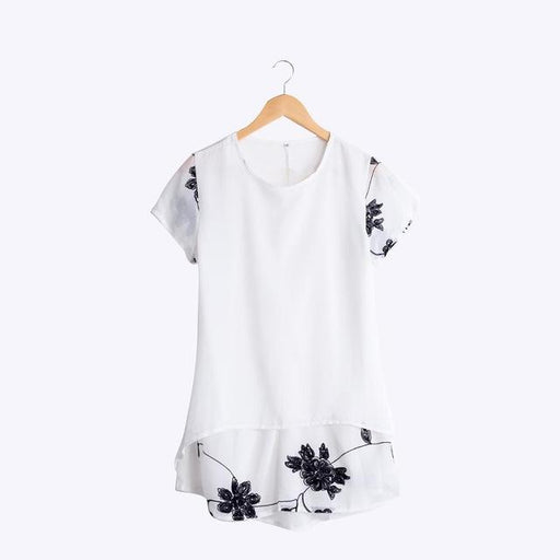 Women's Chiffon Short Sleeve Embroidered Flower O-Neck Long Blouse - SolaceConnect.com