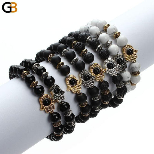 Black Lava Beads Gold Color Hand Charm Energy Yoga Mala Bracelet - SolaceConnect.com