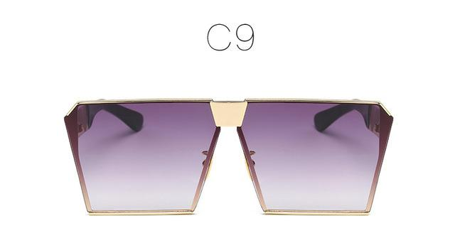 Women's Oversize Shield Style Vintage Sunglasses with UV400 Gradient Lens - SolaceConnect.com