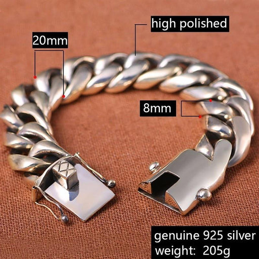 SOLACE 205 Gram Wide Luxury Solid 925 Silver Big Heavy Bracelet Men Link Chain Punk Domineering - SolaceConnect.com
