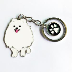 Casual White and Brown Pomeranian Dog Pet Keychain Gift for Women - SolaceConnect.com