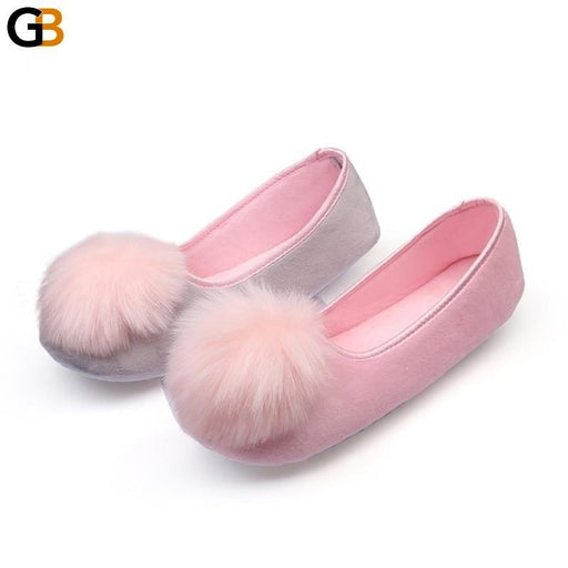 Women's Indoor Pink Gray Warm Flannel Soft Sweet Flat Home Slippers - SolaceConnect.com
